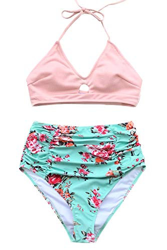 CUPSHE Women's This is Love High Waisted Lace Up Halter Bikini Set, Pink (XX-Large, Pink Floral)