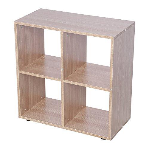 Estink Étagère 4 Compartiments Meuble, Moderne 4 Cube de Présentoir Meuble Bibliothèque en Panneau de Particules (chêne)