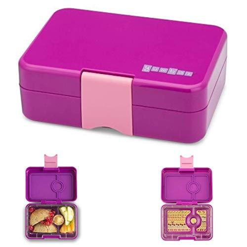 Anton & Sophie YUMBOX Mini Snackbox (mit 3 Fächern) - Bento Box - auslaufsichere Brotbox/Brotdose/Lunchbox für Kindergarten - Feste Fächer-Unterteilung (Bijoux Purple (ohne Namen))