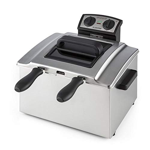 Klarstein QuickPro XXL 3000 Freidora - Tanque 5 L, Potencia 3000 W, Temperatura regulable, Hasta 190 °C, Temporizador, Visor en tapa, 3 x mangos, 3 x cestas, Acero inoxidable, Plateado