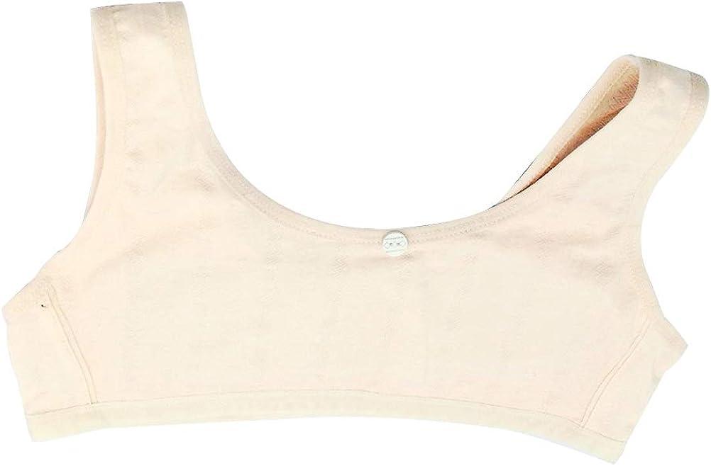 FENICAL Beginner Crop Bra Cotton Development Training Vest Wireless Thin Padded First Bra Single Layer Vests for Girls(One Size, Light Grey)