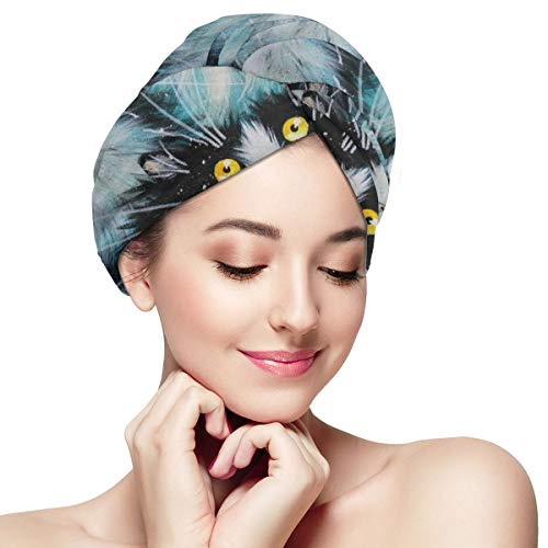 Bettiboy Cute White and Black Curious Cat Microfiber Hair Towel Wrap for Women Super Absorbent Quick Dry Hair Turban for Drying Curly Spa Towel 28 inc