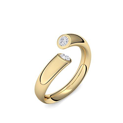 Goldring Diamant 585 + inkl. Luxusetui + Diamant Ring Gold Diamantring Gold 0,08 Carat SI1/H (Gelbgold 585) - Fusion Amoonic Schmuck Größe 50 (15.9) MW04 GG585BRFABRFA50