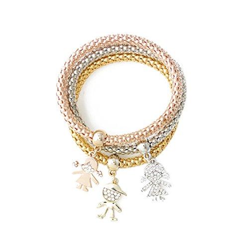 Befaith 3pcs / set / Argento Bracciale catena braccialetto delle donne oro / Rosa ha placcato titanio acciaio bambini NO.1 20cm