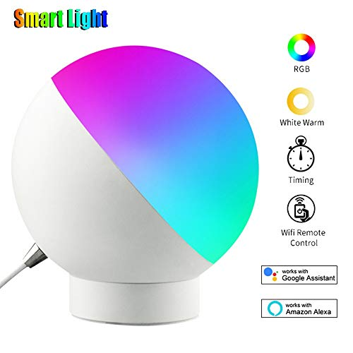 Lámpara de Mesa Inteligente - Lámpara WiFi de 7W con conexión de Cable Compatible con Amazon Alexa, Google Home WiFi controlado por teléfono Inteligente Lámpara de Noche LED Regulable