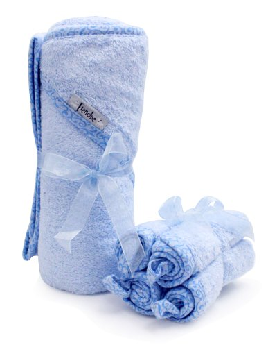 40'x30' Absorbent Hooded Towel and 4 Wash Cloth Set, Blue, Frenchie Mini Couture