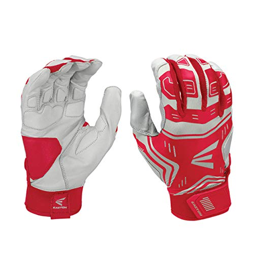 EASTON VRS POWER BOOST Batting Glove | Pair | Baseball Softball | Youth | Medium | Red / Grey | 2020 | VRS Pad Reduces Vibration & Blisters | Tacky Palm | Flexible Lycra | Comfort Neoprene Strap