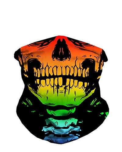 iHeartRaves Rainbow Skeleton Face Gaiter Neck Mask for Men & Women - Skull Gator Mouth Covering Cool Costume Bandana Balaclava
