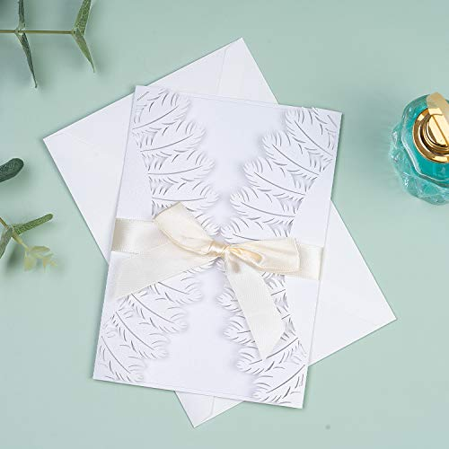 Hochzeitseinladung Hochzeit Einladungskarten Tri-Fold Hohl Lace Business Einladung , 20 Stück Hochzeitskarte Glückwunschkarte Grußkarte Einladungkarte, auch für Taufe,Geburtstag,Kommunion (Feder weiß)