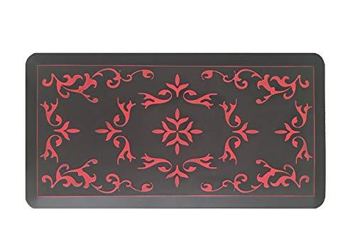 Licloud Anti-Fatigue Mat Non-Toxic Kitchen Mat Floor Mat Comfort Mat Desk Mat (20x39x3/4-Inch, Antique Flower Red 2)