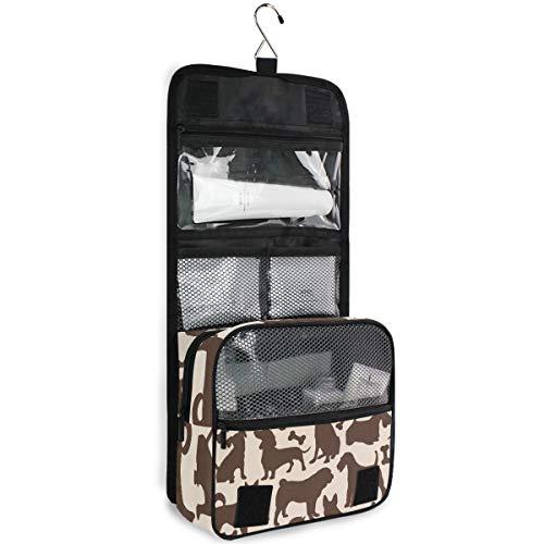 DEZIRO - Bolsa de maquillaje de viaje, diseño de huesos de perro, bolsa de almacenamiento con gancho para colgar en la pared
