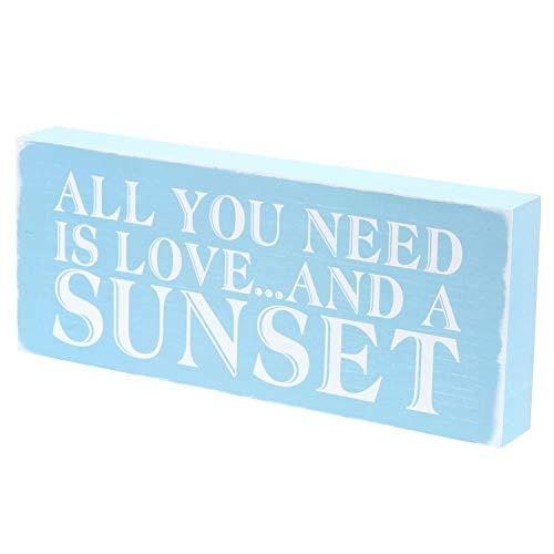 Barnyard Designs All You Need is Love A Sunset Box – Letrero rústico Vintage costero Playa casa decoración del hogar 12' x 5'