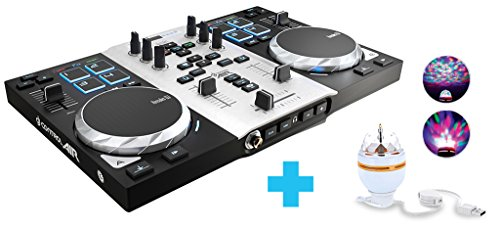 Hercules 4780871 DJ Control Air S Series Party Pack (2-Deck DJ Controller, Air Control, 8 Pads, integr. Soundkarte, LED Party Light USB, DJUCED 18°, PC / Mac)