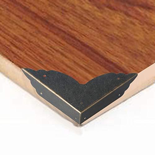Modonghua 12 protectores de esquina vintage, estilo antiguo decorativo de metal caja muebles borde protector escritorio borde cubre muebles esquina parachoques