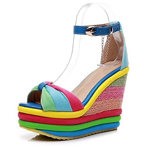 JFFFFWI Sandalias con Plataforma de cuña para Mujer Sandalias con Punta Abierta de Verano para Mujer Sandalias con Hebilla en el Tobillo Peep Toe Tacones Altos de Colores Zapatos para Caminar Sandal