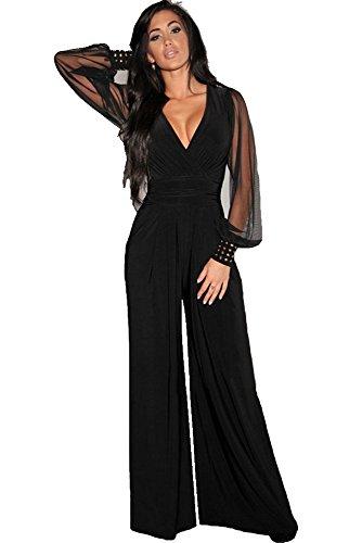 emmarcon Tuta Elegante Pantaloni Lunghi a Zampa Jumpsuit Vestito Abito Cerimonia da Donna, Scollo a V Profondo -Black-S