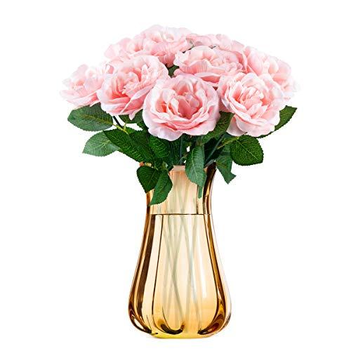 Niceclub 10 Stück Künstliche Pfingstrose Blumen Bouquet Gefälschte Seidenblumen Strauß für Braut Hochzeit Festival Home Decor (Rosa)