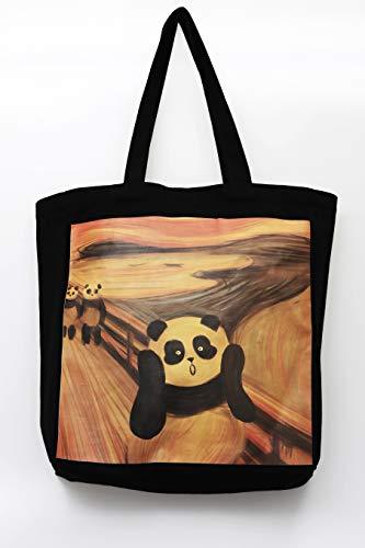 Pandasy Panda Tasche Canvas Einkaufstasche, Panda trifft auf Meisterwerk: Der Schrei, Edvard Munch (Stofftasche, Shopper, riesige Kapazität)