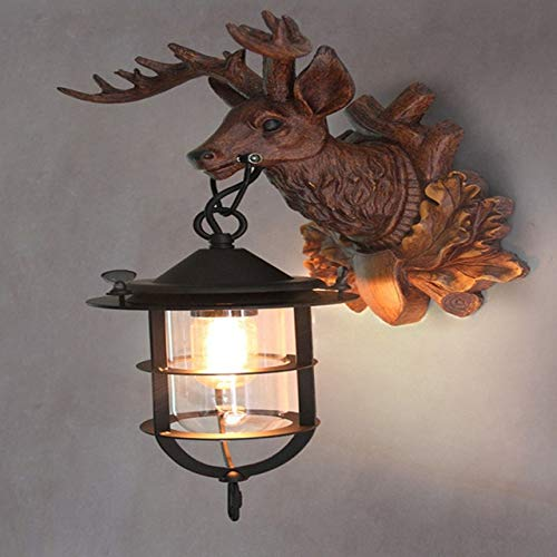 YICOOWEALTH Lámpara de pared creativa americana con forma de cuernos rurales con personalidad retro para pasillo, dormitorio, cabeza de ciervo Z A
