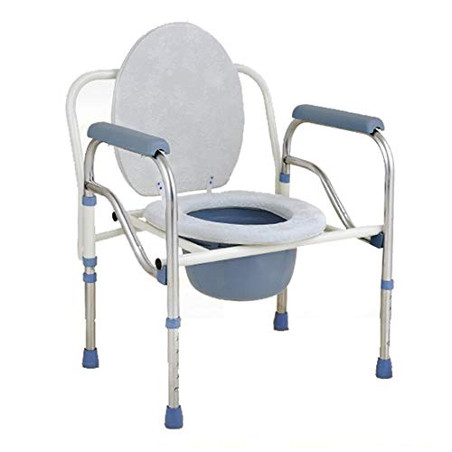 Toilet Chair, Collapsible Commode Chair Toilet Raiser, Height Adjustable, Free Cushion/Toilet Brush, Suitable for Elderly, Patient, Pregnant Woman/A / 48x64cm