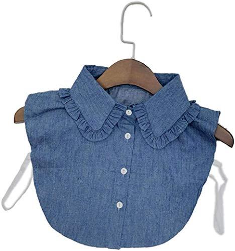 LYDIANZI Cuello De Mezclilla Falsa Cuello De Cuello Corbata Vintage Cuello Desmontable Collar Falso Collar Solapa Blusa Top para Las Mujeres(Color:Style 1)
