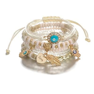 xingguang Pulsera étnica de mano con forma de corazón ajustable y colgante en capas para mujer, cuentas de cadena, pulseras tobilleras (color metálico: oro)