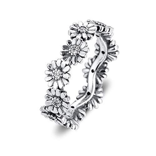 2020 primavera brillante margarita flor corona anillos para mujer plata 925 DIY se adapta a pulseras originales Pandora encanto joyería de moda (52 #)