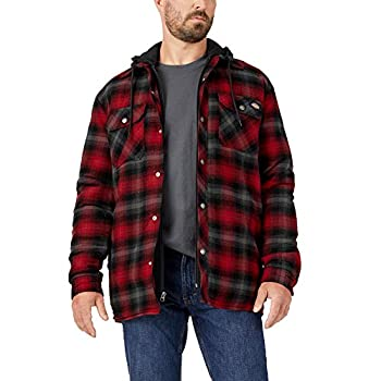 Dickies Men s Relaxed Fleece Hooded Flannel Shirt Jacket English Red/Black Ombre Plaid MD
