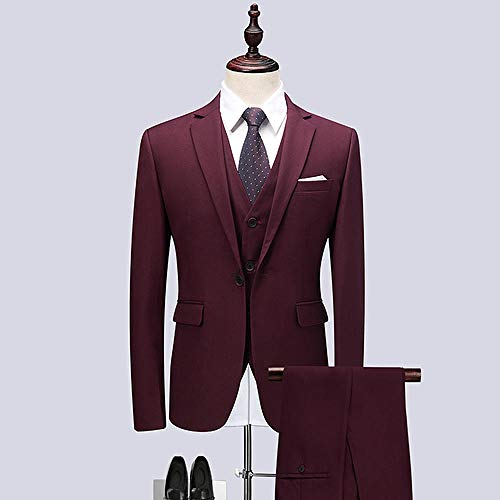 MarXixi Business Herrenanzug 3-teiliger Anzug (Jacke Weste Hosen) Hochzeit Trauzeugen Anzug Herrenanzug Jackenanzug Hochzeit-Burgund_XXL_for_68-74_kg