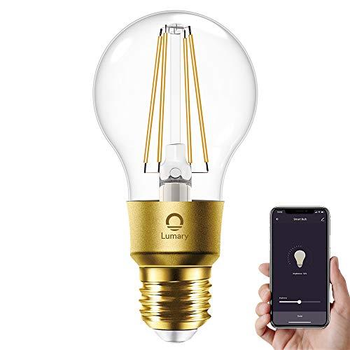 WLAN Glühbirne Alexa E27, Lumary Smart Edison Vintage LED Glühbirnen Lampen, 6W ersetzt 60W LED Birne Lampe, Dimmbar Warmweiß 2700K Retro Glühlampe Leuchtmittel, Alexa Google Home Kompatibel, 600LM