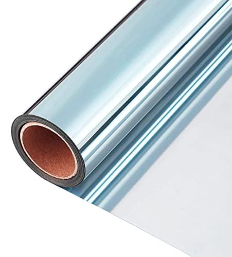 2 piezas La lámina para ventanas anti-dispersión película mágica película del espejo El bloqueo de fibra de vidrio de la ventana película de protección contra el frío de sombreado UV (azul + plata, 1,96 * 6,56 pies)