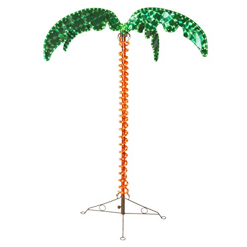 Deluxe Tropical LED Rope Light Palm Tree with Lighted Holographic Trunk and Fronds (4.5 Foot)