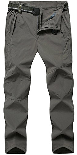 TBMPOY Men's Quick Dry Ripstop Belted Mountain Fishing Cargo Pants(03thin Darkgrey,us M)