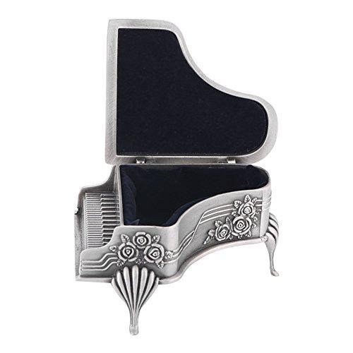 XingYue Direct En Forma de Piano Flor Color de Rosa Tallado Aleación de Zinc Caja de joyería Caja Almacenamiento de joyería