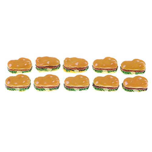 2 unids casa de muñecas miniatura alimentos mini hamburguesas resina hamburguesas accesorios DIY simulación mini juguete hamburguesa joyería accesorios modelos alimentos muñeca accesorios