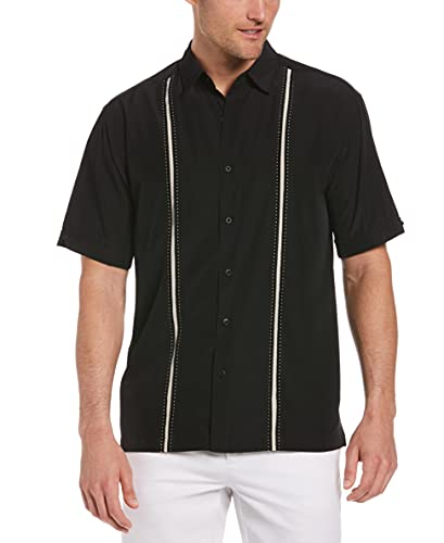 Cubavera mens Short Sleeve Houndstooth-print With Insert Panels Shirt, Jet Black, Large US