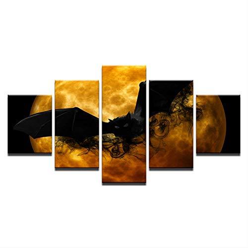DGGDVP Impresiones de la Lona Carteles Sala de Estar Arte de la Pared 5 Piezas Crazy Halloween Paintings Black Bat Orange Moon Imágenes abstractas Decoración del hogar Tamaño 2 Sin Marco