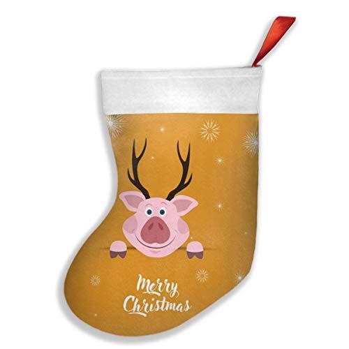 OUYouDeFangA Süßes Schweinchen Aquarell Weihnachtsstrümpfe Party Geschenk Dekoration Süßigkeiten Socken hängend Zubehör Zarter Druck