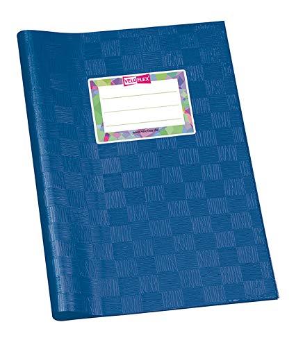 VELOFLEX 1352150 Hoes DIN A5, Bast-structuur, gedekte PP-folie, met naamlabel, blauw, 25 stuks