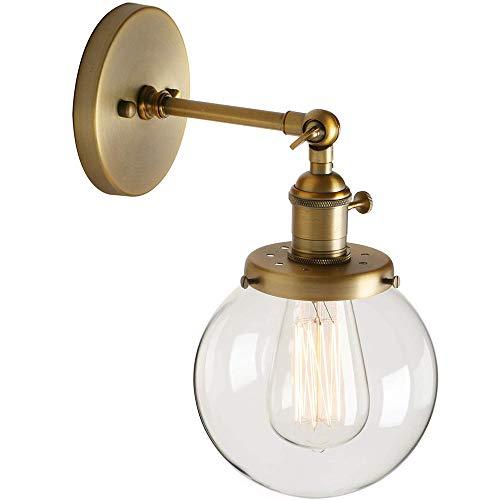 ZHANG Lámpara Industrial Loft Vintage Bar Luces de la Pared Herrajes Corredor Aplique de la luz Fixture con 15Cm Globo de Cristal Claro de Pantalla (Excluyendo el Bulbo)