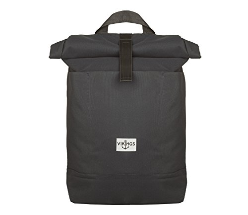 Rucksack Backpack Daypack Roll Top Überschlag Rollover Nylon Kurierrucksack Kuriertasche (Grau)