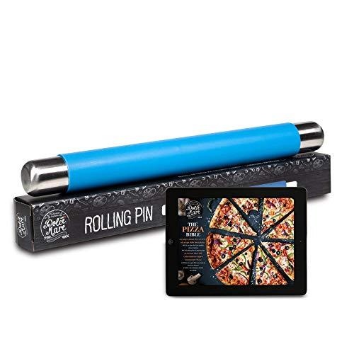 DOLCE MARE Silikon Teigrolle - Antihaft Nudelholz - BPA freie Fondant Rolle für Pizza & alle weiteren Teigwaren - Der Teigroller kommt in Einer edlen Geschenkverpackung (Blau)