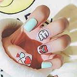 KATTERS Cute Cartoon Love Pattern 24 Sheet/Set Fake False Nail Tip Colour Beauty Glue Nuevo diseño Red Lipstick Manicure Nail Sticker C69