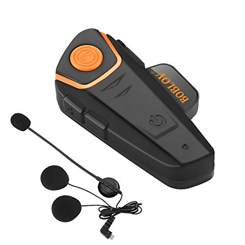 BOBLOV BT-S2 Bluetooth Intercomunicador para Casco de Motocicleta, Auricular Bluetooth 1000M Headset Intercom Interphone FM( 1 Pieza)