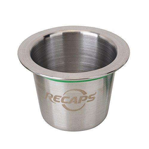 RECAPS Filtri ricaricabili in acciaio inossidabile Capsule riutilizzabili compatibili con la macchina della linea originale Nespresso ma non tutte (1 cialda + 120 guarnizioni)