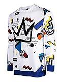 SCREENSHOTBRAND-F11963 Mens Urban Hip Hop Premium Fleece - Pullover Activewear Street Fashion Crew Neack Sweatshirt-White/Pop-Medium