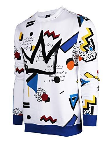 SCREENSHOTBRAND-F11963 Mens Urban Hip Hop Premium Fleece - Pullover Activewear Street Fashion Crew Neack Sweatshirt-White/Pop-3XLarge