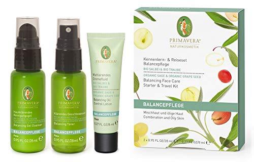 PRIMAVERA Kennenlern- & Reiseset Balancepflege Salbei Traube -Geschenkbox - Geschenkbox Reinigungsgel, Gesichtswasser, Cremefluid - ölige Haut und Mischhaut - vegan