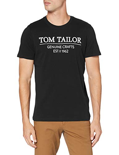 TOM TAILOR Herren Basic Logo-Print T-Shirt, 29999-Black, M