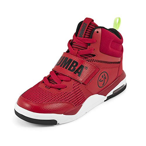 Zumba Air Classic Remix High Top Gym Shoes Dance Fitness Workout Shoes for Women, Red, 5.5